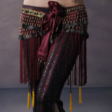 Belly Dancing Hip Scarf Skirt Wrap Velvet Chain Fringe Tribal Waist Belt Skirt