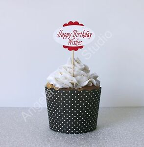 """24 """"Happy Birthday Wishes"""" (Red/White) Cupcake Toppers / Picks - Double Sided"""