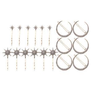 18pcs Rhinestone Moon Star Hair Clips Vintage Hair Pin Hair Accessories Gifts