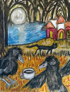 Crow-Drinking-Coffee-Black-Cat-Haunted-House-Forest-Art-Print-5x7-Artist-KSams