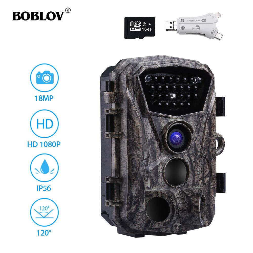 BOBLOV H883 18MP 1080P Night Vision Hunting Trail Camera +16GB + SD Card Reader