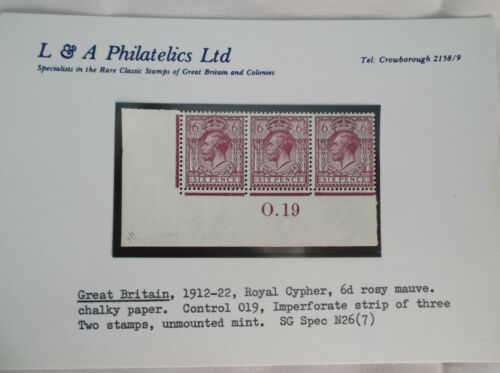 Great Britain191222royal cypher 6d rosy mauvecontrol 0.19 imperforatestrip 3