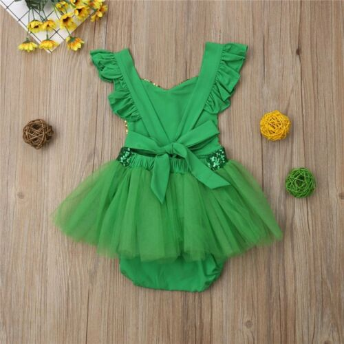 NWT Baby Girl St Patricks Day Gold Sequin Green Shamrock Romper Jumpsuit Dress