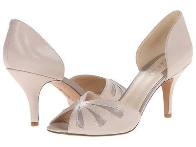 NINE WEST Orlega Beige Taupe Nude Sandals Peep Toe Slip Slip Slip on Stiletto Pump 8 M New 1a4599