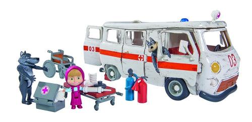 """Simba 109309863 - Mascha und der Bär Spielset """"Krankenwagen"""" 20cm"""