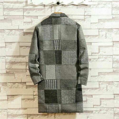 Men's Trench Coat Lapel Checked Jacket Plaid Tweed Overcoat Warm Winter Parka