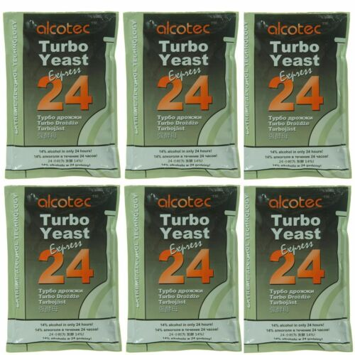 Pack of 6 Alcotec 24 Hour Express Turbo Distillers Yeast