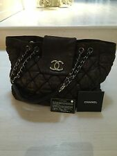 Limited Edition Chanel Quilted Bubble Lamskin Large Charcoal Grey Tote Bag