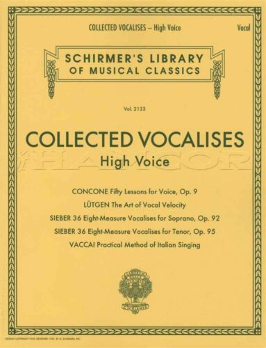 Collected Vocalises for High Voice Vocal Sheet Music Book Concone Lutgen Vaccai
