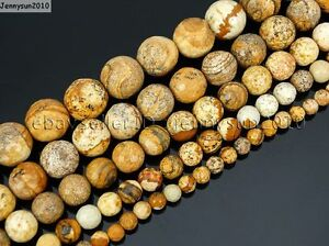Natural-Picture-Jasper-Gemstone-Faceted-Round-Beads-16-039-039-4mm-6mm-8mm-10mm-12mm