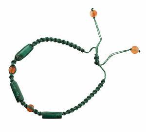 Bracelet macrame malachite gemme pierre veritable Fait main FS1-21257