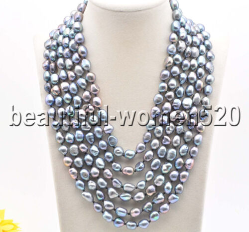 Z8420 6Strds 11mm Peacock Black Baroque Freshwater Pearl Necklace 22inch Magnet