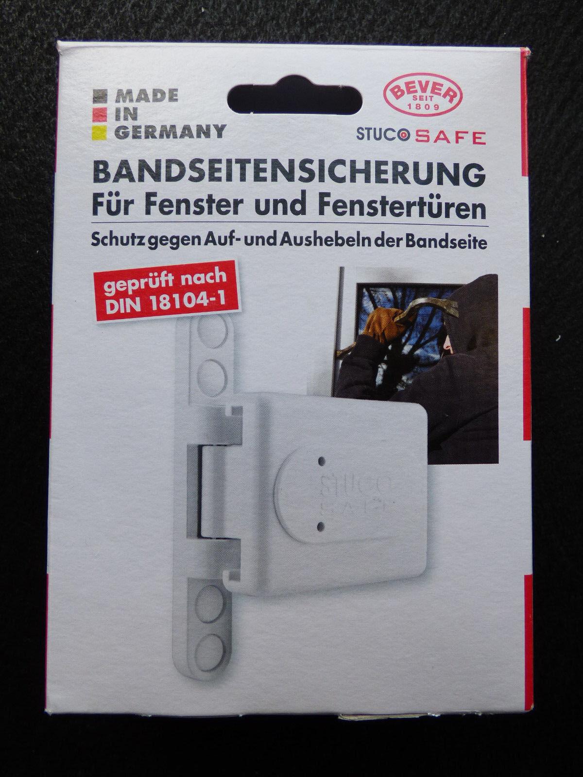 Bever Stuco Safe 23SW Bandseitensicherung  Fenstersicherung Weiß + Gratis Bohrer
