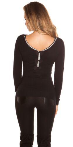 KOUCLA Pullover Maglione Pullover a maglia con strass e fiocco