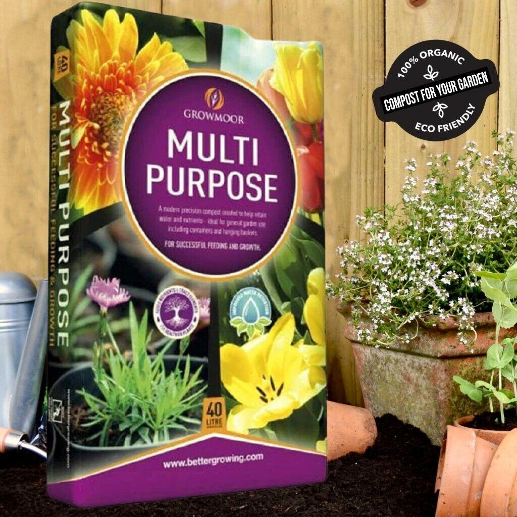 Growmoor Multi Purpose Enriched Compost 40L Soil Potted Plants Flowers Garden UK