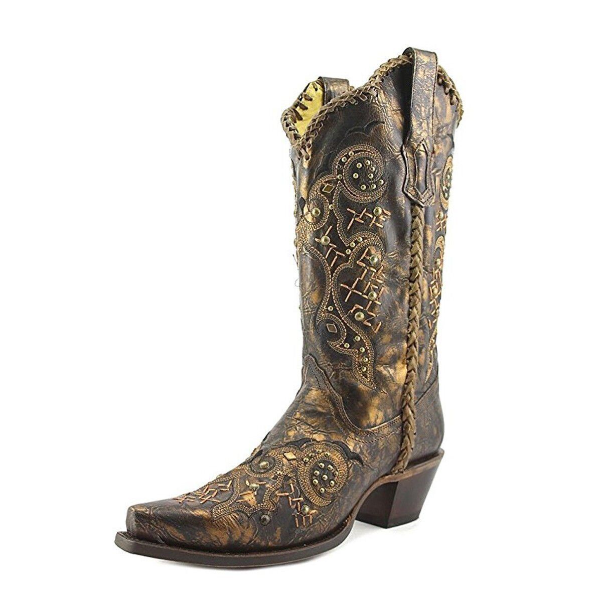 CORRAL Women's Leather Laced and Studded Snip Toe Cowgirl Boots R1217