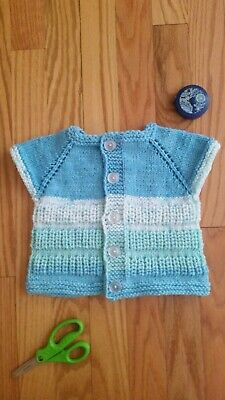 Hand Knitted Baby boys Cardigan in a blue yellow and white mix yarn 3-6 Months 20\u201d Chest