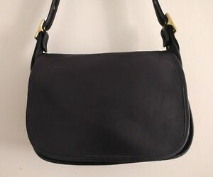 106eb57ff9 Image is loading Vintage-COACH-Patricia-Legacy -Black-Flap-Crossbody-Messenger-