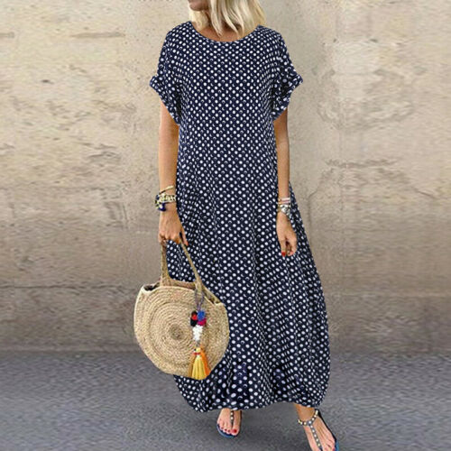 Womens Short Sleeve Floral Baggy Casual Loose Kaftan Maxi Dress Plus Size 8-24