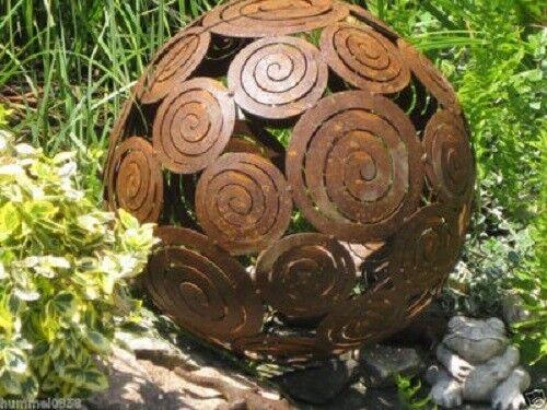 Edelrost Kugel Schneckenkugel Dekoration 40 cm Garten Beet Terrasse Metall Deko