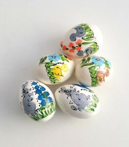 Wooden Eggs Set of 5 painted natural decorative eggs toy eggs
