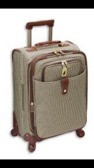 London Fog Luggage Chelsea 21 Inch 360 Expandable Upright Suiter Olive Plaid For Sale Online Ebay