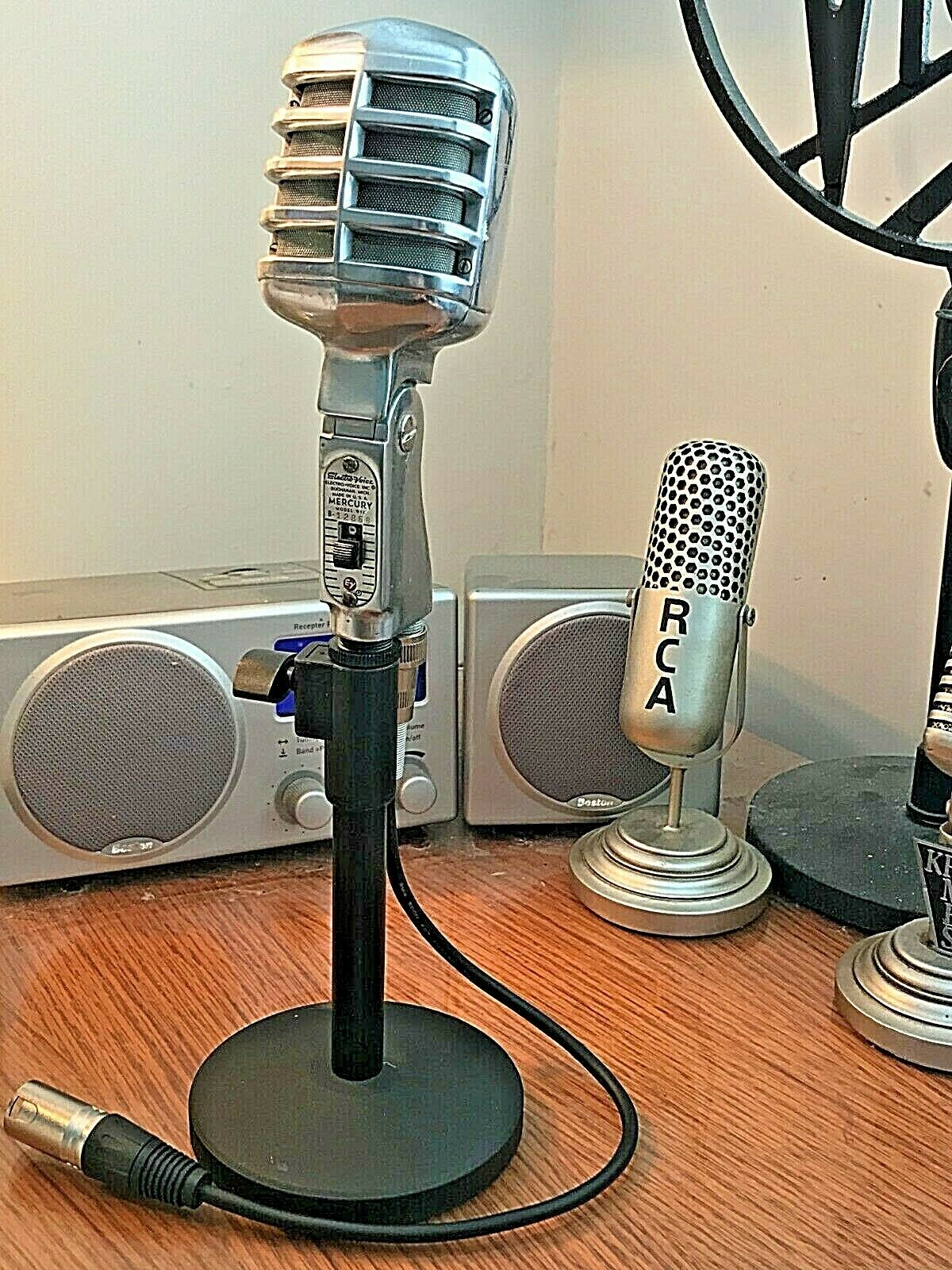 Vintage 1950's EV Electro-Voice Mercury 911 Microphone - w stand & cable-working