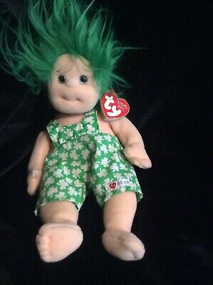 SHENANIGAN  with green hair MWMT  Ships for FREE Ty Beanie Baby Kid