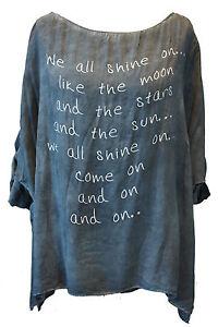 Long Oversize Bluse Shirt Tunika Turn-Up Pailletten Print/One-Size<wbr/>/ 20170800026