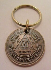 Alcoholics Anonymous AA 15 Year Bronze  Medallion Keychain Token coin chip Sober