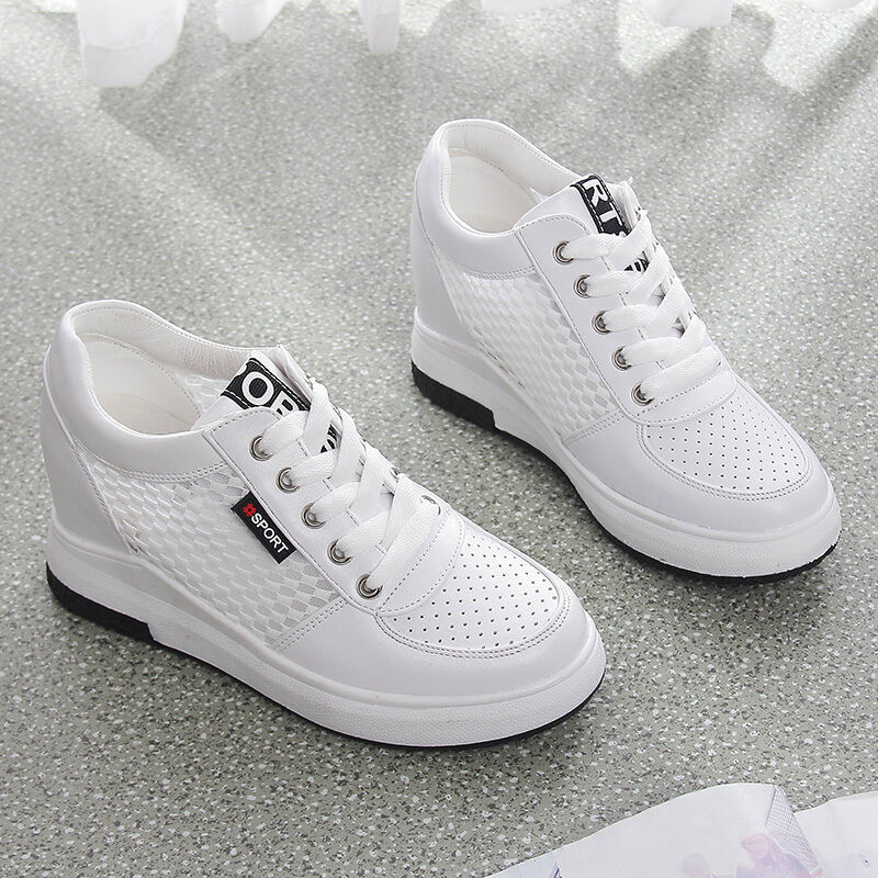 Mesh Hidden Wedge Heel Lace Up Sneakers Athletic Women's Casual shoes Breathabl