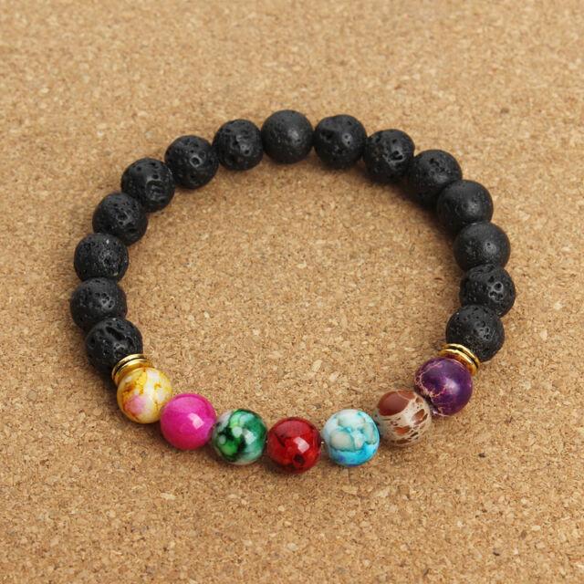 7 Chakra Natural Yoga Healing Lava Stone Crystal Reiki Energy Balancing Bracelet