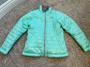 The North Face Girl's Gray/Green Reversible Mossbud Swirl Jacket ~ Size M 10/12