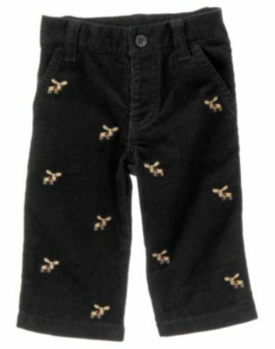 NWT Gymboree Holiday Traditions Pants 0 3 6 12 18 m Black Corduroy Moose Dress