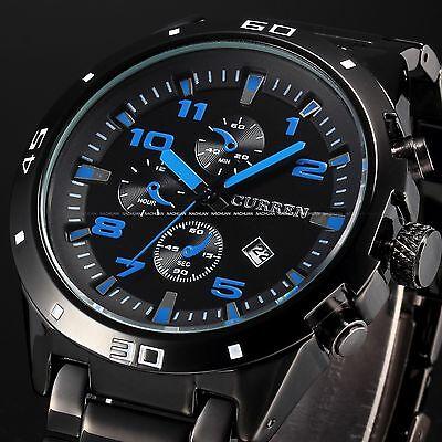 CURREN Black Stainless Steel Date Blue Dial Sport Quartz Men's Wrist Watch