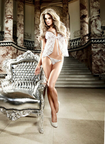 White 853 Lace Babydoll And G-String Set