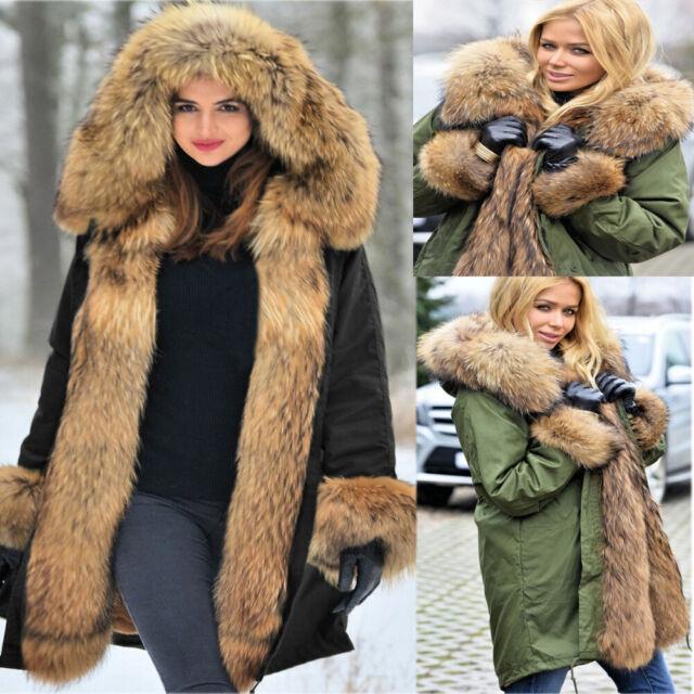 Ladies Fur Trimmed Parka Coat