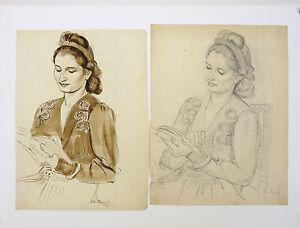 Charles Karel Cerny (1892-1965) 2 Femmes Prague République Tchéque Mánes Group Sensation Confortable