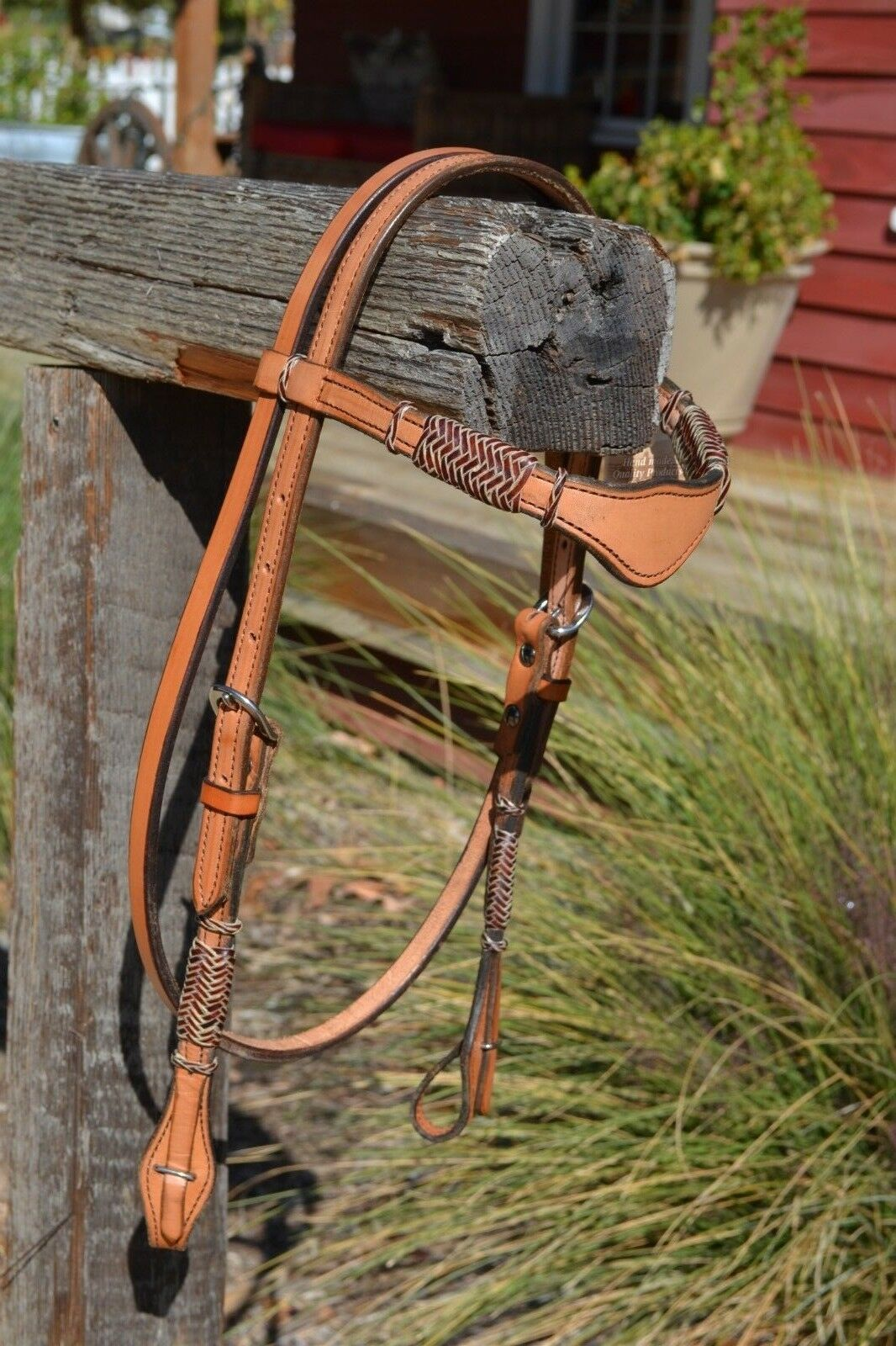 5 8  Shape Browband Headstall with Brown Braided Rawhide - Natural Russet