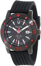Bulova Marine Star Men's 98B164 Quartz Red Accents Black Rubber Band 44mm Watch
