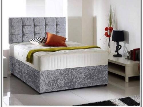 PLAIN FRIDAY CRUSHED VELVET DIVAN BED WITH UNDER BED STORAGE ORTHOPEDIC MATTRESS