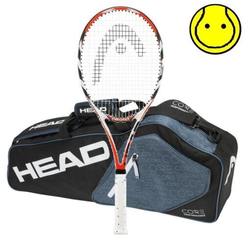 New Head MicroGel Radical MidPlus MP Core Pro 3 Racquet Tennis Bag Strung