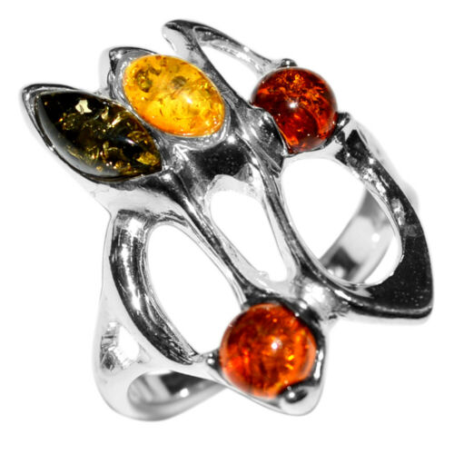 4.4 g Authentic BALTIC AMBER 925 Sterling Silver Ring Jewelry N-A7361