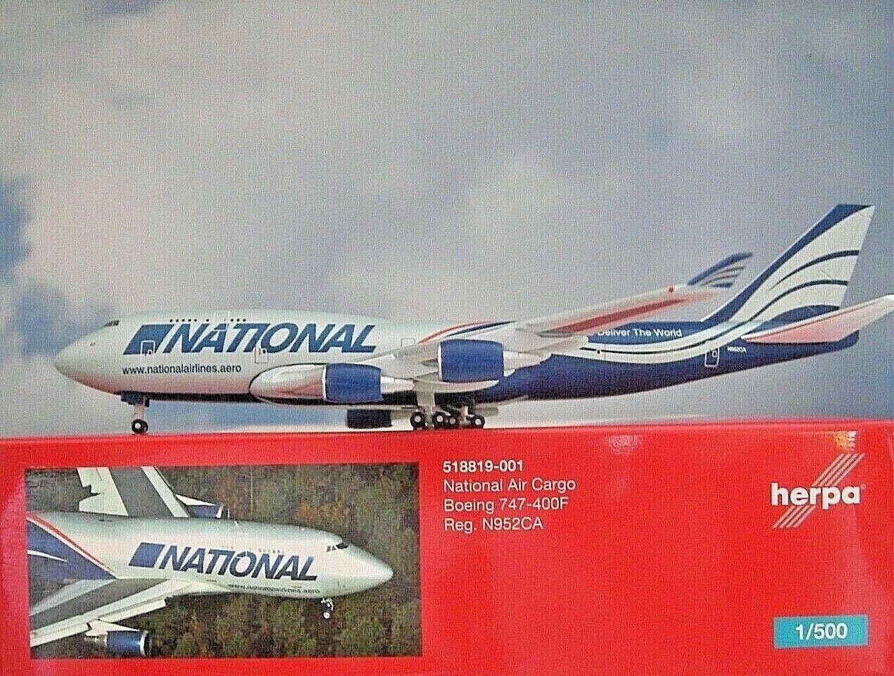 Herpa Wings 1 500 Boeing 747-400 National Air Cargo 518819-001 modellairport 500