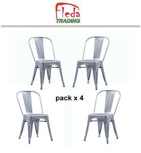 Détails sur Chaises en métal Style Industriel Chic Cuisine Bistro Tolix Design n°4 GRIS