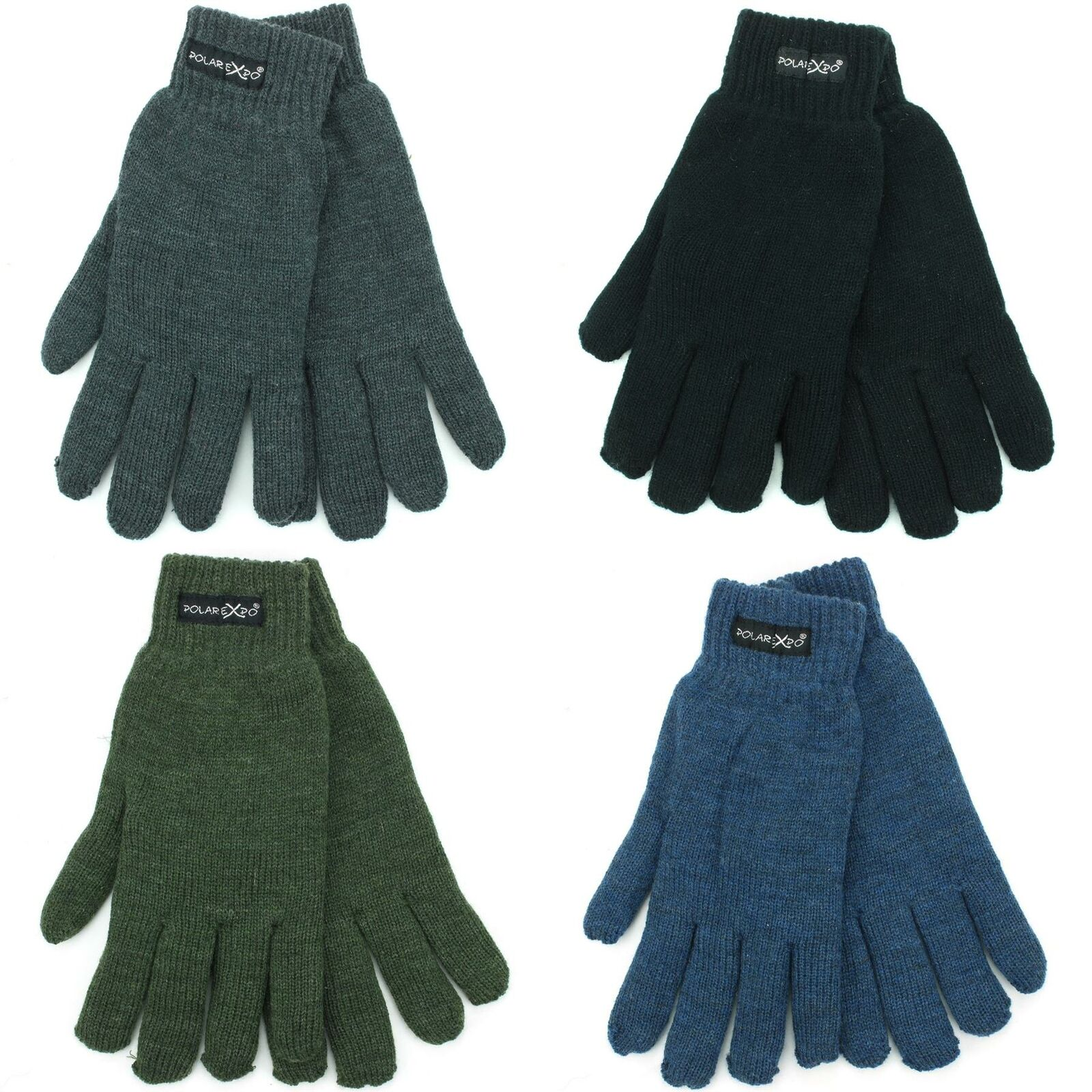Knitted Elasticated Cuffs Gloves Hawkins Warm Winter Knit Mens Lined