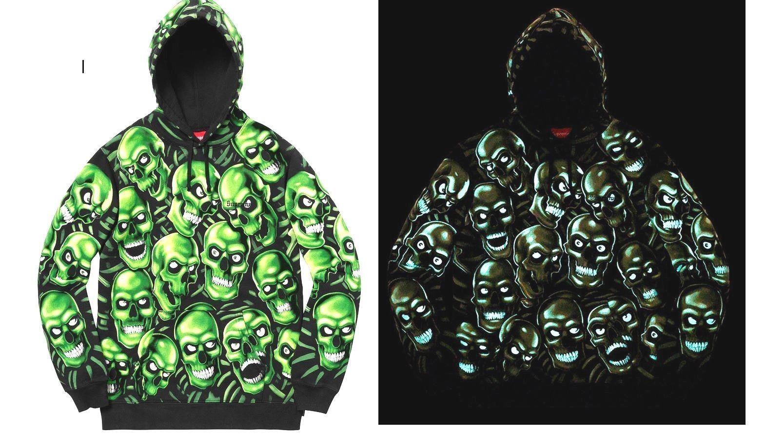 Supreme Skull Pile Hooded Sweatshirt (glow in the dark), Größe L.