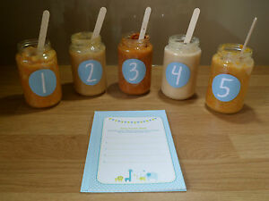 Guess The Baby Food Blue Boy Baby Shower Game S Ebay
