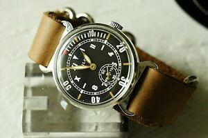POBEDA-Military-Mechanical-Men-039-s-Wristwatch-leather-strap