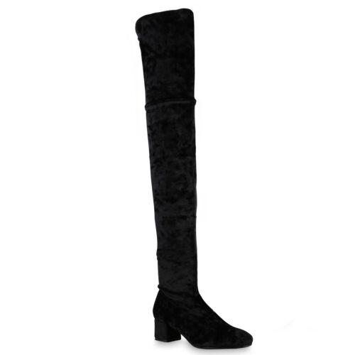 Damen Stiefeletten Stretch Boots Samtoptik Stiefel Blockabsatz 813716 Mode